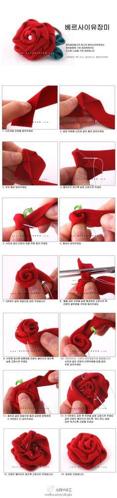 """#阿卡手工-布艺#来自韩国的手工达人分享的布艺玫瑰花教程,布艺也可以做出来如此逼真的玫瑰花呢。快点多做几朵,给你的衣服,头发,包包上增加一些""""爱情""""的气息吧!"""