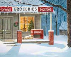 This Coca-Cola themed jigsaw puzzle features artwork by Jim Harrison. The painting shows a country grocery store on a winter's day. A Christmas tree can be seen through the window of the store. Coke Ad, Coca Cola Ad, Always Coca Cola, World Of Coca Cola, Christmas Scenes, Christmas Past, Vintage Christmas, Christmas Cards, Christmas Ideas