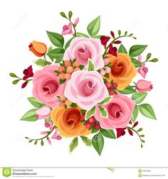 bouquet-roses-freesia-flowers-vector-illustration-pink-orange-green-leaves-white-background-49916362.jpg (1300×1390)