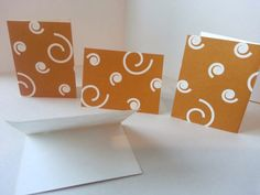Sets of 4 - Light Brown with White Swirls Folded Gift Tags