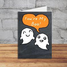 Ghost Card Printable Halloween Love Card by PrintTransfer on Etsy