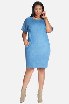 Plus Size Carlie Denim Shift Dress