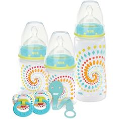 Promote proper oral development, reduce colic and ease the transition from breast to bottle with this set of NUK orthodontic bottles and pacifiers. NUK orthodontic nipples and pacifiers exercise the m