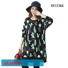 ARCSINX Oversize Women Bts 4XL 5XL 6XL 2017 Autumn Cute Print Cactus Black Female Pullovers Long Sleeve Women Long Sweatshirts