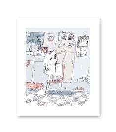 While you were sleeping  Funny Cat Art  Large Cat by jamieshelman