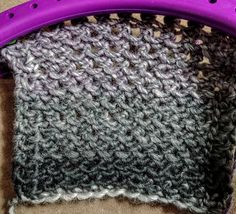 This is my Free Flowing Stitch. It's a great loom knit stitch for scarves, shawls, blankets, or even in the round. Both sides look good so great if you want to reverse it or change which side you are wearing.