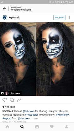 Half Skull Makeup for Unique Halloween Makeup Ideas to Try Makeup Tutorials Half Skeleton Makeup, Half Skull Makeup, Skeleton Face Paint, Half Skull Face Paint, Half Skeleton Face, Unique Halloween Makeup, Halloween Makeup Looks, Up Halloween, Unique Makeup