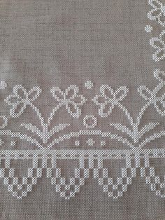 Beautiful embroidery on evenweave linen Beaded Cross Stitch, Cross Stitch Borders, Cross Stitch Baby, Cross Stitch Flowers, Cross Stitch Designs, Cross Stitching, Cross Stitch Embroidery, Cross Stitch Patterns, Ribbon Embroidery