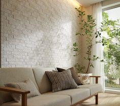 LIXIL | エコカラット | エコカラットシリーズ | 施工空間から選ぶ | リビング Minimalist Interior, Minimalist Living, Home Living Room, Living Room Decor, Outdoor Sofa, Outdoor Decor, Apartment Interior Design, Textured Walls, Interior And Exterior