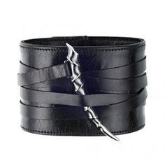 Black Leather and Oxidised Silver Horn Wrap Men's Bracelet.