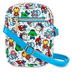 [Shoulder arms]You have an army of super heroes to help you win the style wars with this Marvel Crossbody Bag.  Thor, Iron Man, Captain America, Hulk, and Spider-Man join forces on this cool accessory from our MXYZ collection.