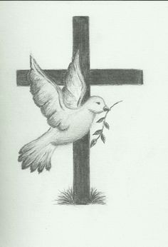 christian cross coloring pages Jesus Drawings, Music Drawings, Cool Art Drawings, Art Drawings Sketches, Drawing Ideas, Dove Drawing, Cross Drawing, Christian Drawings, Christian Art