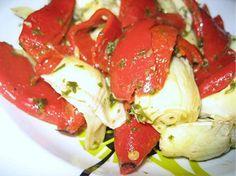 Alcachofas con pimiento