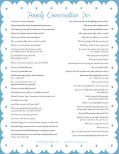Importance of family dinner; ideas for implementing it; family conversation jar printable topics; and ideas for family-friendly, easy meals