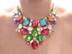 Vitrail Necklace, Rainbow Rhinestone Necklace, Crystal AB, Rhinestone Bib Necklace, Jeweled, Statement Necklace, Sparkly, Colorful Jewelry on Etsy, $34.99