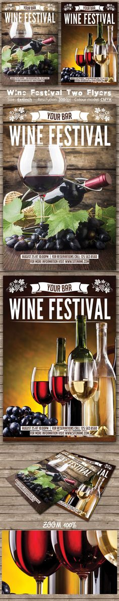 Wine Festival Two Flyers by oloreon on Creative Market - autumn, bar, bottles, bundle, celebration, champagne, club, drink, elegant, event, fall, festival, flyer, france, glass, grapes, italy, nightclub, nigth, party, restaurant, spain, Spring Festival, Spring Party, summer, summer party, template, vine, wine, wine festival
