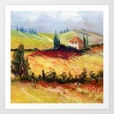 """Toskana"" by Wemmje, 2014 , Watercolor Landscape, Landscape Paintings, Watercolour, Tuscan Art, Mediterranean Art, Italy Art, Acrylic Painting Tutorials, Naive Art, Tuscany"