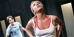 """Tamzin Outhwaite and James McAvoy in """"Breathing Corpses"""" by Laura Wade, Jerwood Theatre Upstairs, Royal Court, London, March 2005 (Photo: Tristram Kenton)"""