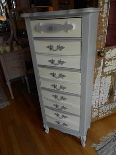 Update an out of date French Provincial Lingerie Chest with Chalk Paint® decorative paint by Annie Sloan. This piece was done in Paris Grey, Old White and accents of Emile.