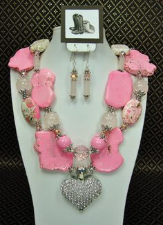 PINK TURQUOISE Chunky Western Style Cowgirl Statement Heart Necklace - All My HeaRT