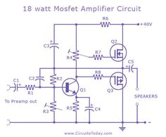 Different types of Mosfet amplifier circuits with diagram and schematics.A list of various audio amplifiers of output 10 watts using Mosfet. Power Supply Design, Electronics Storage, Electronics Projects, Subwoofer Box Design, Radio Design, Electronic Circuit Projects, Electronic Schematics, Audio Amplifier