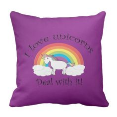I love unicorns deal with it purple background throw pillow
