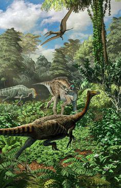 Escena del Cretácio superior de Coahuila. De izquierda a derecha se representan, Coahuilaceratops, Lathirhinus, Velafrons, Saltillomimus y Muzquizopteryx sobrevolando la escena.