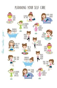 Planning for Self Care Stickers. Light Skin and Brunette Girl. 19 Planner Stickers for Erin Condren, Happy Planner, Simplified Planner. This great Planning for Self Care sticker set has sever