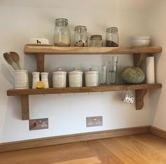 Floating-Chunky-Solid-Oak-Shelves-Shelf-Free-Fixings-included Metal Floating Shelves, Oak Shelves, Kitchen Shelves, Wooden Shelves, Shelving, Wooden Shelf Design, Cottage Renovation, Lounge, Solid Oak