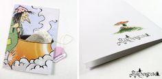Märchenhafte Hexen-Grußkarte mit Teebeutel von Märchenstube auf DaWanda.com