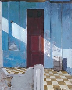 Behind the Red Door by Laurie Regan Chase: Giclee Print available at www.artfulhome.com