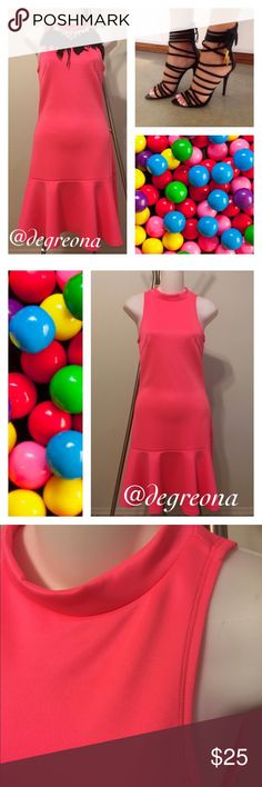 Hot Pink Mermaid Dress Hot pink scuba knit mermaid dress. Has stretch .Perfect for summer! Forever 21 for exposure. Forever 21 Dresses Midi