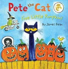 """Pete the cat Five little pumpkins sitting on a gate. The first one said, """"Oh my, it's getting late."""" Join Pete the Cat as he rocks out to this cool adaptation of the classic Halloween song """"Five Little Pumpkins. Halloween Books For Kids, Halloween Songs, Halloween Themes, Halloween Crafts, Halloween Party, Halloween Activities, Fall Crafts, Spooky Halloween, Kid Crafts"""