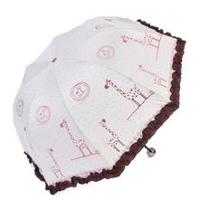 Encantador Dos Desenhos Animados Do Laço Guarda-chuva Manual de Três Dobrar Ensolarado e Chuvoso Chuvas Paraguas Sombrinha Guarda-chuva das Mulheres Para A Venda(China (Mainland))