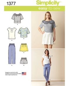 Simplicity Easy-to-Sew Pattern 1377 Misses Top, Pull-on Pants, Shorts, Skirt…