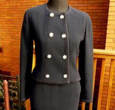 #Chanel #suit #vintage #secondhand #ebay #sale #fashion #style #lagelle #pittsburgh #classic Authentic Vintage Chanel navy blue skirt jacket blazer suit coat sz 34 http://cgi.ebay.com/ws/eBayISAPI.dll?ViewItem&item=281214401827