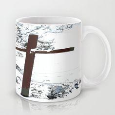 Cross in the Snow Mug by Nancy Smith - $15.00 #cross #Christian #snow