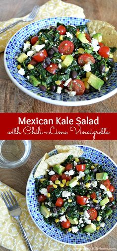 Mexican Kale Salad with Chili-Lime Vinaigrette ... this fresh, flavorful vegetarian kale salad recipe makes a delicious, filling meal that everyone will enjoy!   Hello Little Home