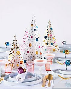 holiday table decorations with lots of sequins