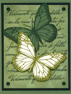 Green butterflies by CathyRose - Cards and Paper Crafts at Splitcoaststampers