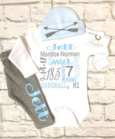 A personal favorite from my Etsy shop https://www.etsy.com/listing/568264631/baby-boy-clothes-boys-birth-stat