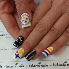 Pittsburgh Steelers by botanicnails  #nail #nails #nailart I would die if I got this done ahhhhhhhhh