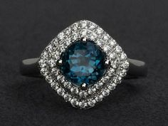Round cut blue topaz ring anniversary ring engagement ring 925 sterling silver #Affinity Double Halo Engagement Ring, Engagement Ring Buying Guide, Engagement Ring Styles, Vintage Engagement Rings, Blue Gemstones, London Blue Topaz, Blue Topaz Ring, Gemstone Rings, Halo Rings