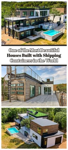 We've seen some quirky homes, but this one may just take the cake. Made entirely from shipping containers, this home overlooking Lake Travis is absolutely beautiful. Build your own shipping container home! Shipping Container Buildings, Shipping Container Home Designs, Shipping Container House Plans, Container House Design, Shipping Containers, Container Houses, Prefab Shipping Container Homes, Cargo Container, Building A Container Home