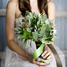 sage and lambs ear green bouquet (this is very similar to what the boutonnieres will look like). Nice size for bridesmaids