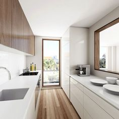 Kitchen Images & Inspiring Design Ideas Narrow Kitchen with a Large window opening White Galley Kitchens, Galley Kitchen Design, Simple Kitchen Design, Galley Kitchen Remodel, Best Kitchen Designs, Interior Design Kitchen, Kitchen Renovations, Long Narrow Kitchen, Long Kitchen