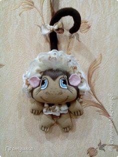 Игрушка Шитьё обезьянка - подвеска Кофе Ткань фото 1