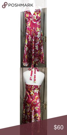 "Halter Dress Flower Print Dress by Laundry Love the mix of color and bold flowe print in this 100% silk dress nwt by Laundry so cheerful!! Size 12 Shell 100% Silk Lining 100% Polyester Dry Clean Only Bust 38"" Waist 34"" Hip 40"" Length 45"". Laundry Dresses Backless"