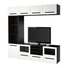 BESTÅ Tv-opbergcombi/vitrinedeuren - laderail, zachtsluitend, zwartbruin/Marviken wit helder glas - IKEA