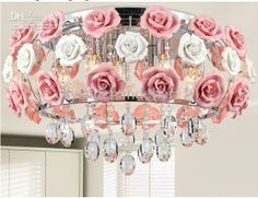 Wholesale Pendant Lamp - Buy Modern Flower Shape Glass Crystal Chandelier with Roses